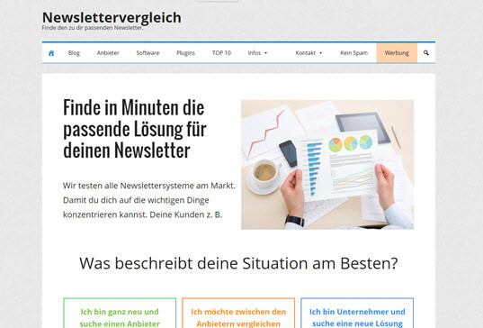 Screenshot Newslettervergleich Service
